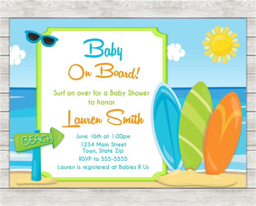 surf baby shower invitation surfing