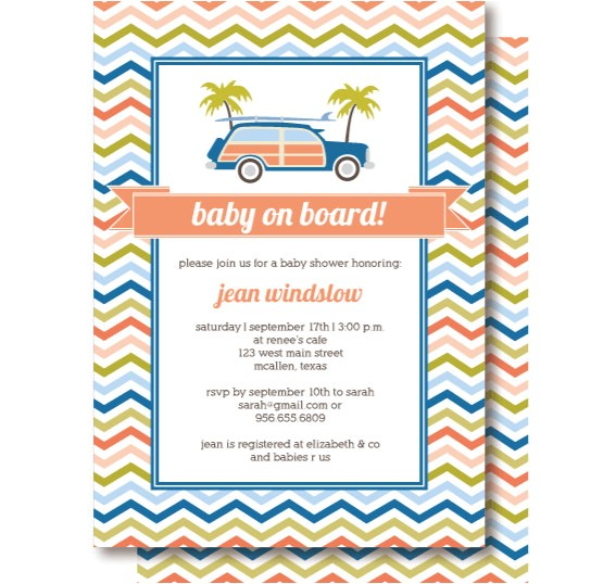 surfer baby shower invitations