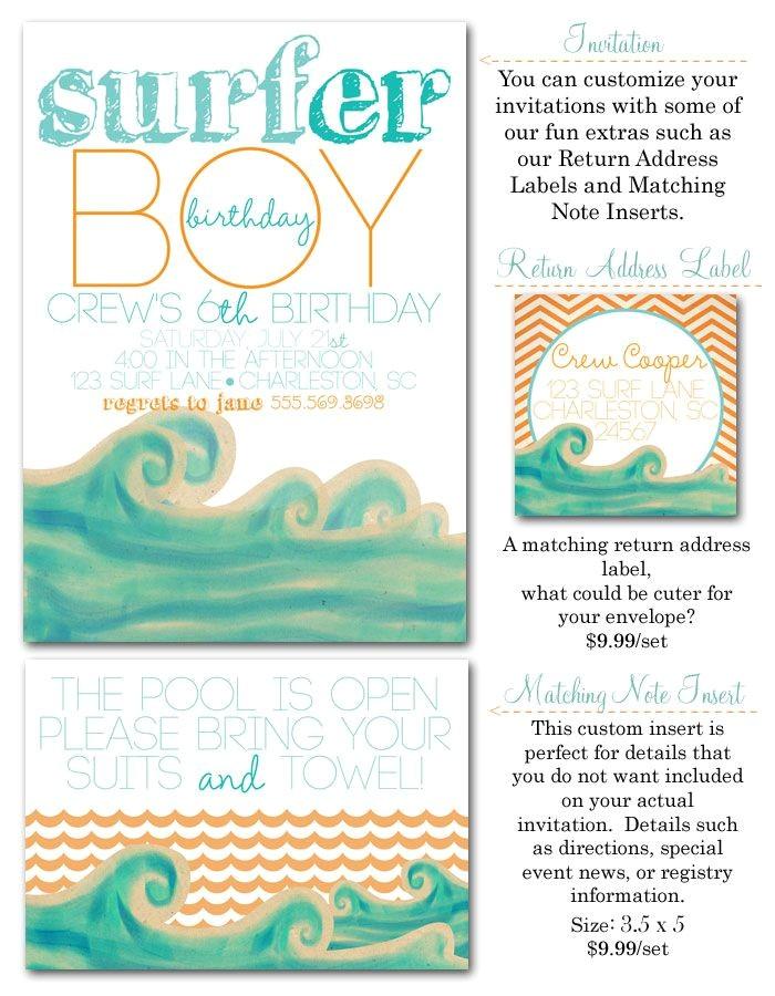 Surfer Boy Baby Shower Invitations Surfer Boy Surf Party Invites Surfs Up Surfer