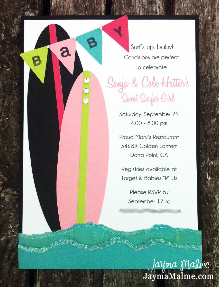 surfer girl baby shower invitations