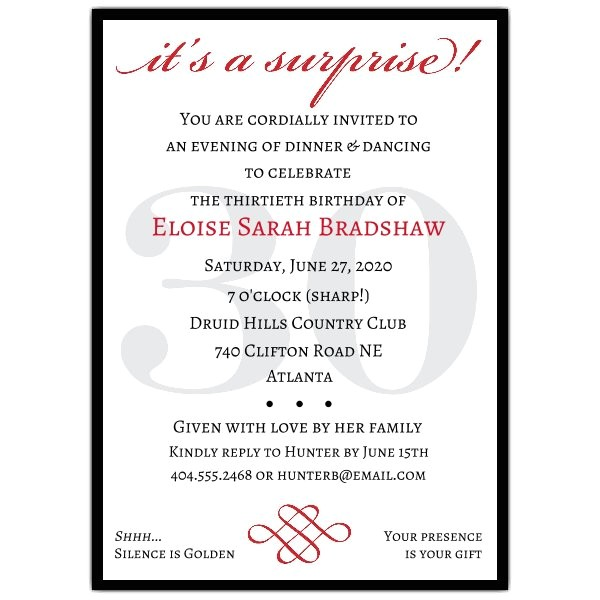 Surprise 30th Birthday Invitations Classic 30th Birthday Red Surprise Invitations