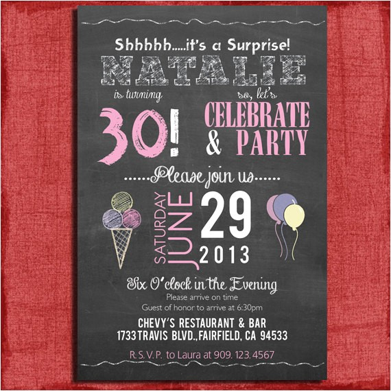 surprise 21st 30th 40th 50th chalkboard