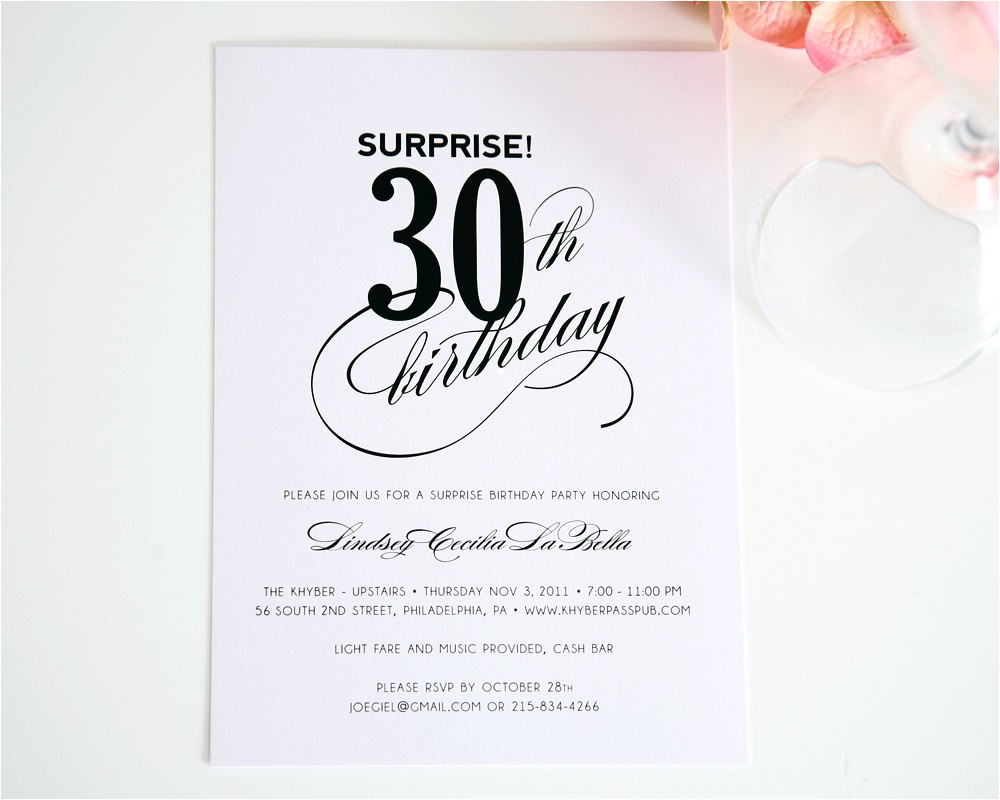 surprise 30th birthday party invitation ideas