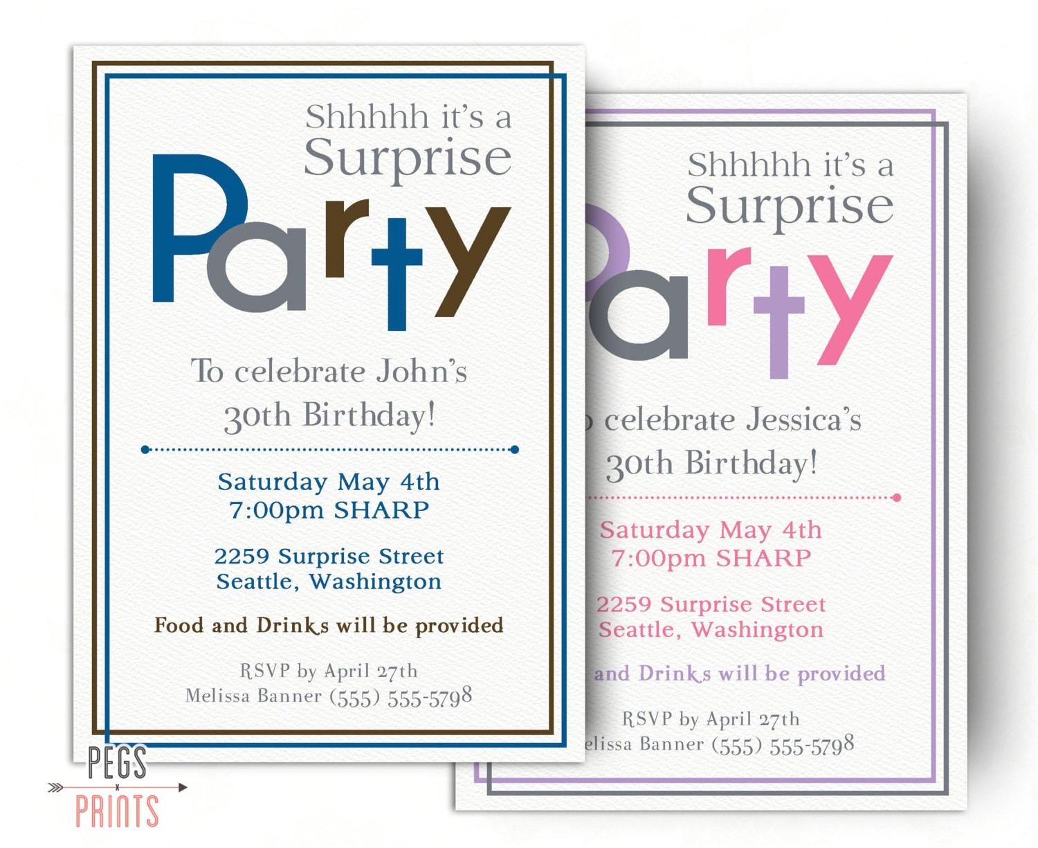 surprise birthday invitations for men or