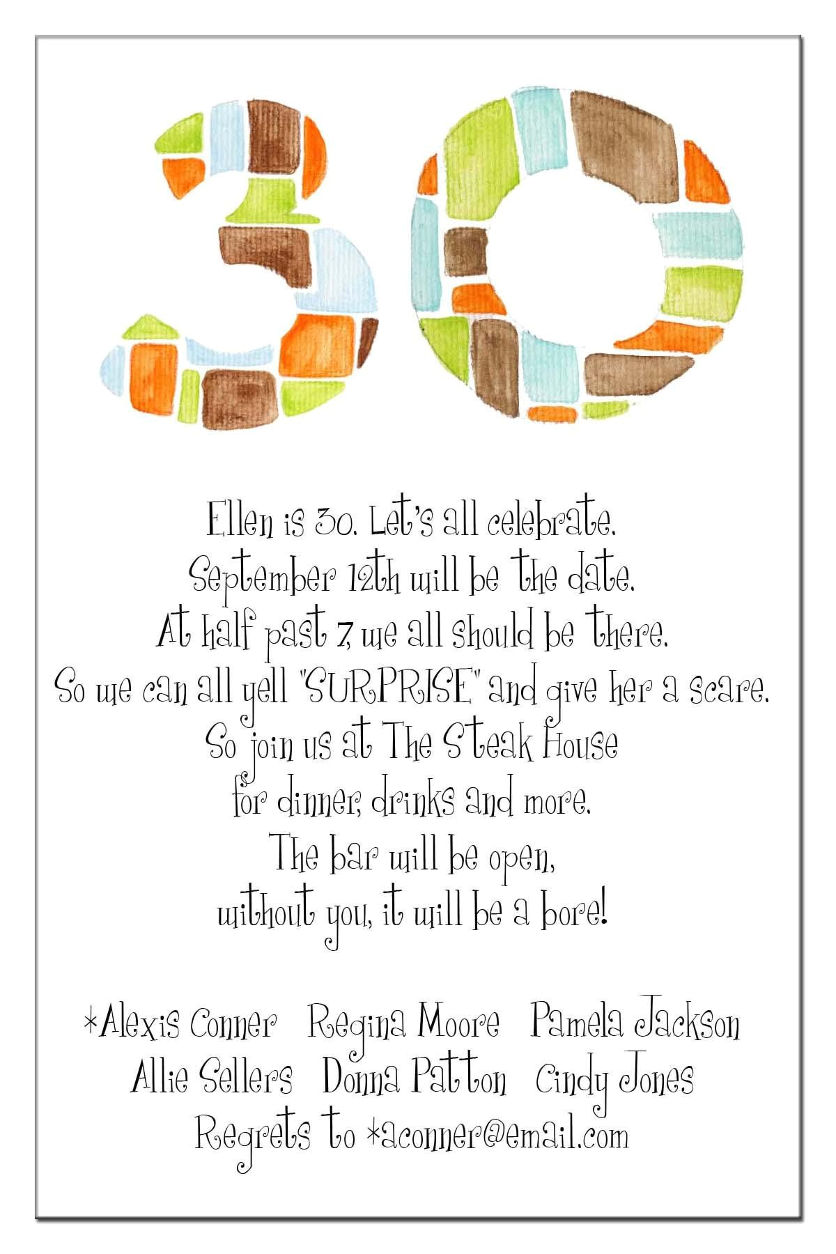 Surprise 30th Birthday Party Invitation Wording 20 Interesting 30th Birthday Invitations themes – Wording