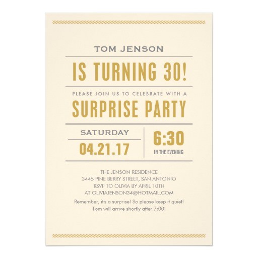 big type 30th birthday surprise party invitations