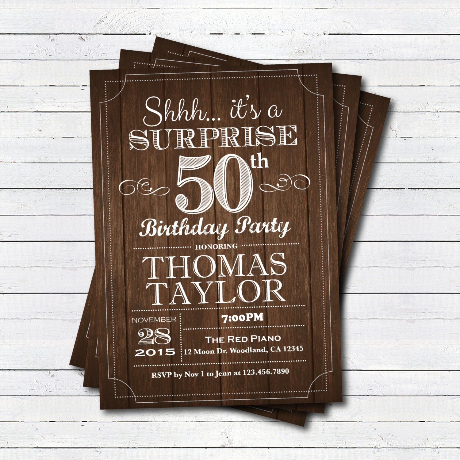 Surprise 50th Birthday Invites Surprise 50th Birthday Invitation Adult Man Any Age