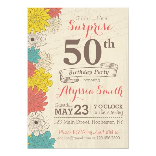 surprise 50th birthday invitation
