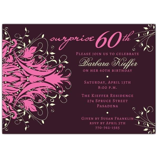 Andromeda Pink Surprise 60th Birthday Invitations p 610 75 175P