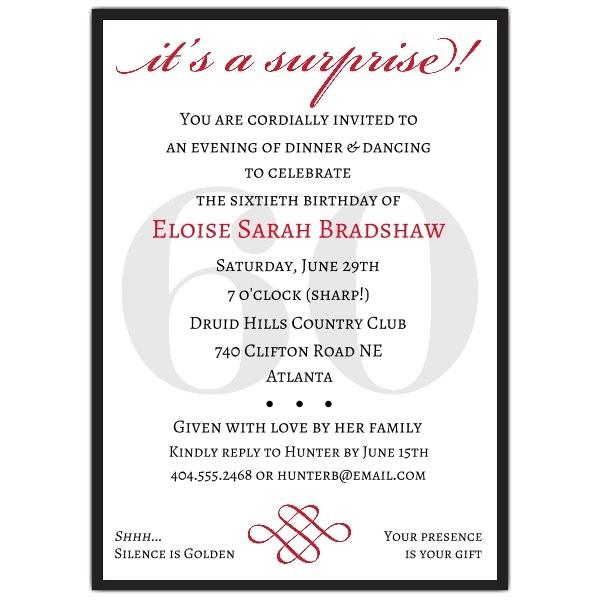 Classic 60th Birthday Red Surprise Invitations p 607 57 60s