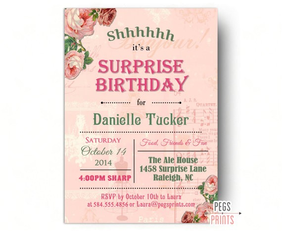 shabby chic surprise party invitation