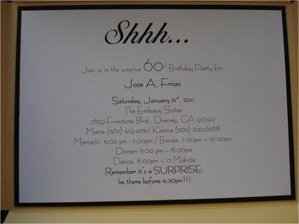 surprise 60th birthday party invitation wording