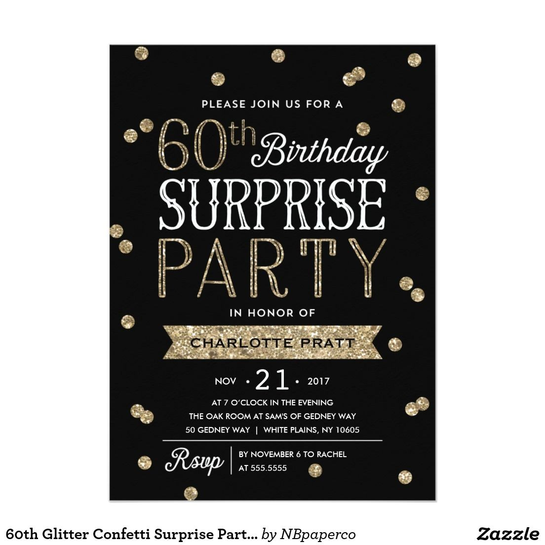 Surprise 60th Birthday Invitation Wording Ideas 60th Glitter Confetti Surprise Party Invitation Surprise