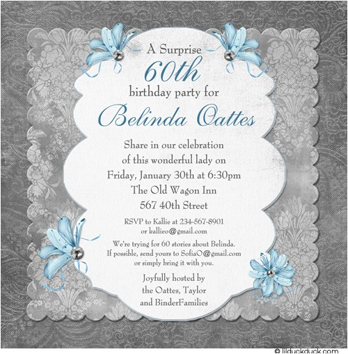 60th surprise birthday party invitations