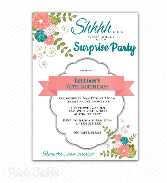 surprise invitation 70th birthday party