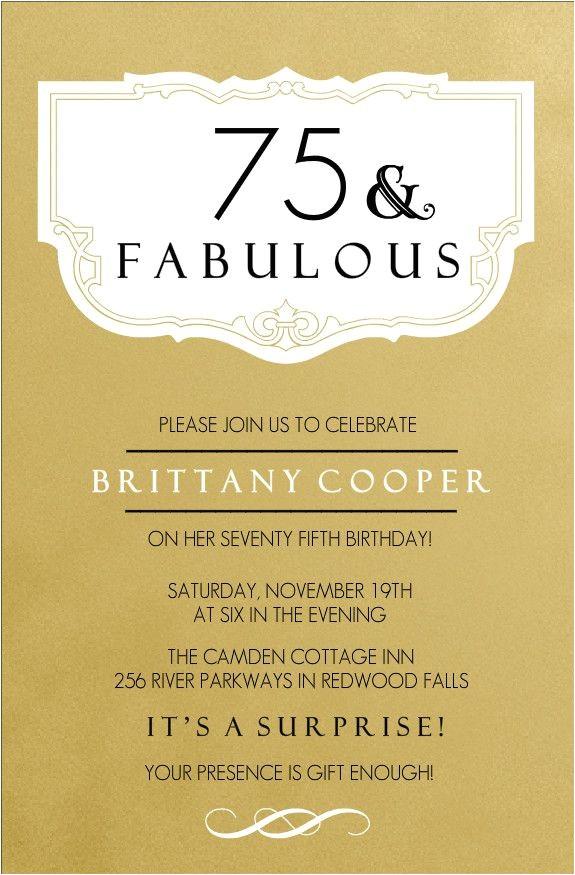 75th birthday invitations