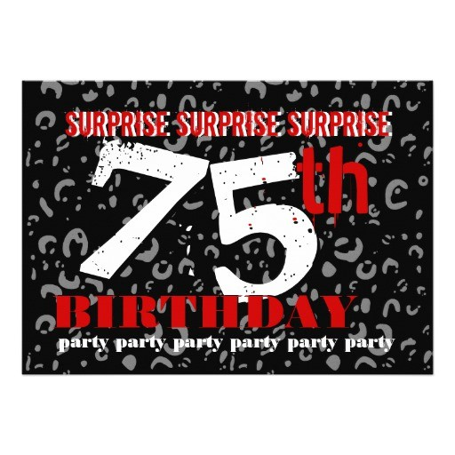 75th surprise birthday party invitation template 161639777326579571