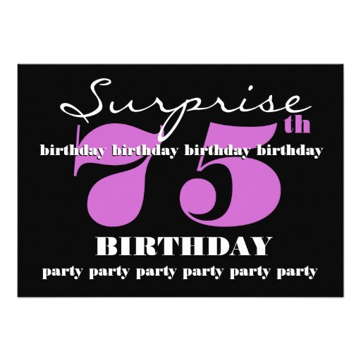 75th surprise purple birthday party template invitation 161407506777787814
