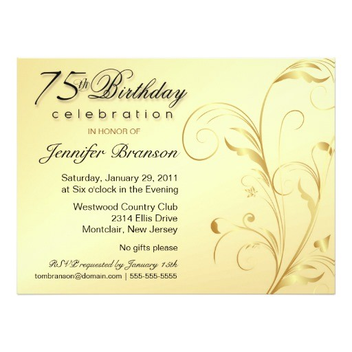 75th birthday surprise party gold floral large invitation 161358881855411767