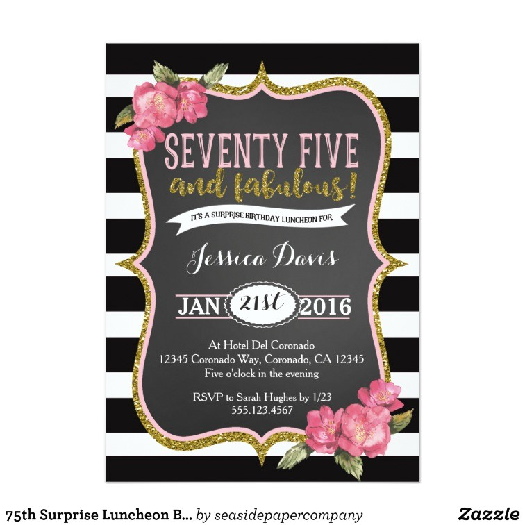 75th surprise luncheon birthday party invitation 256808098425579085