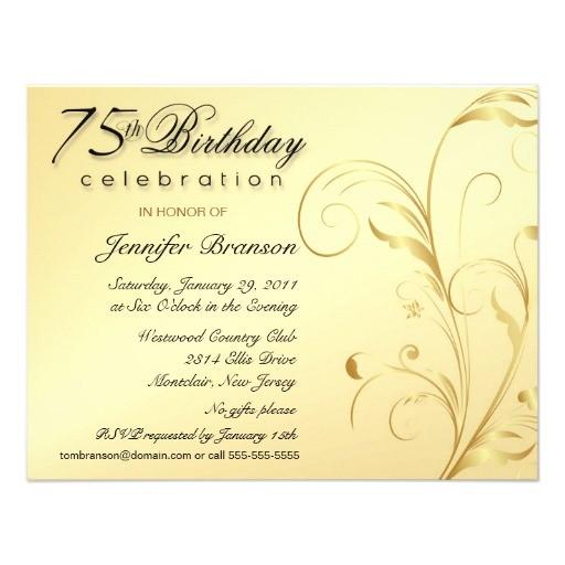 elegant 75th birthday surprise party invitations 161179415306536794