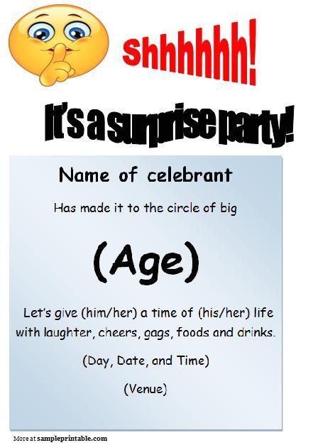free surprise birthday invitation