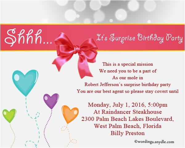 surprise birthday party invitation wording