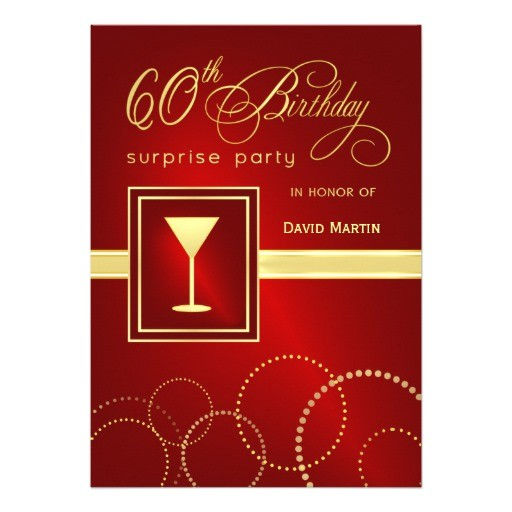 60th birthday surprise party invitations red 161054978974834766