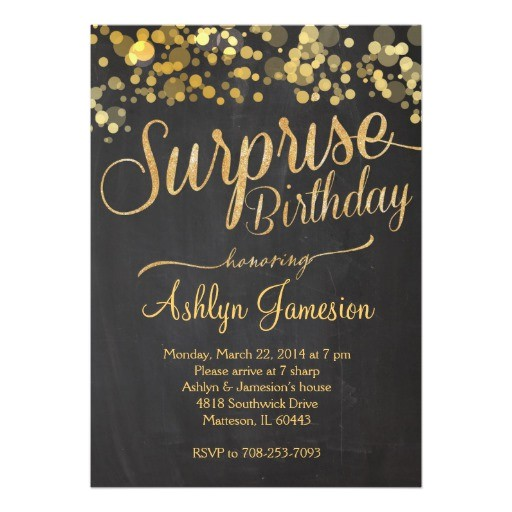 sparkle glitter surprise birthday invitation 161353785139831725