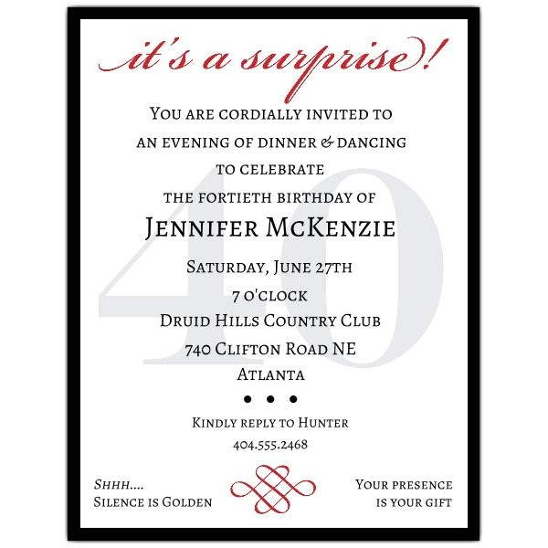 Classic 40th Birthday Surprise Party Invitations p 607 57 40s