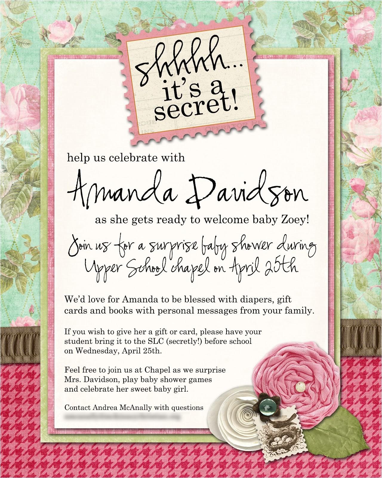 surprise baby shower invitation wording