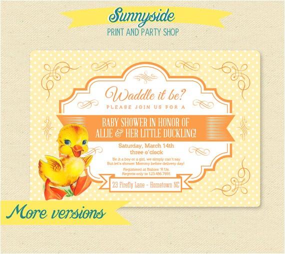 waddle baby shower invitation gender neutral