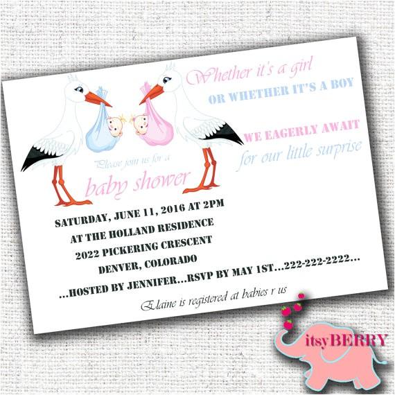 surprise baby shower invitation gender