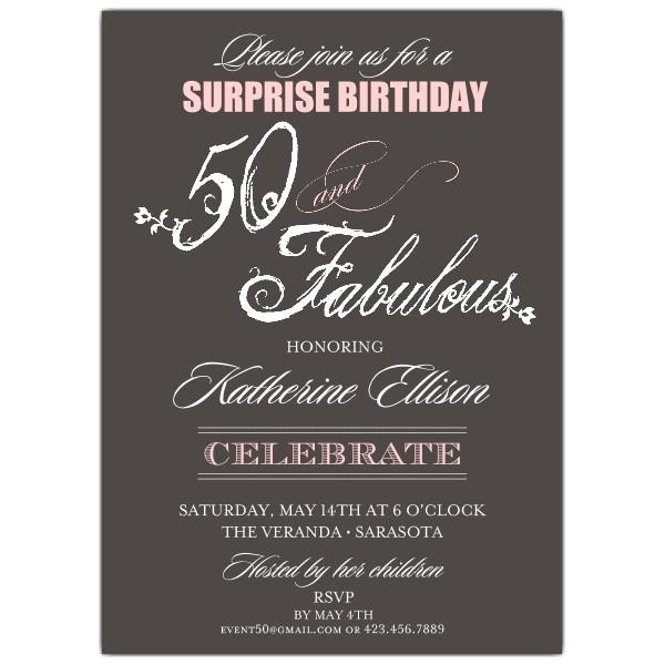Fabulous Script 50th Birthday Invitations p 603 57