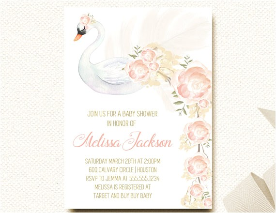 baby shower invitation girl swan