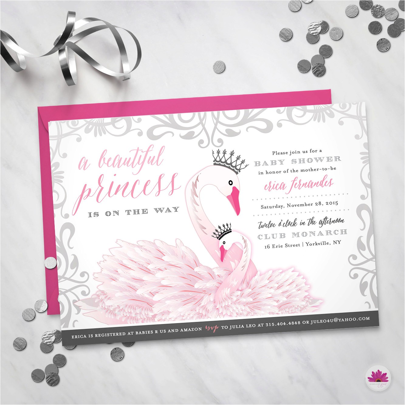 baby shower invitation princess swan