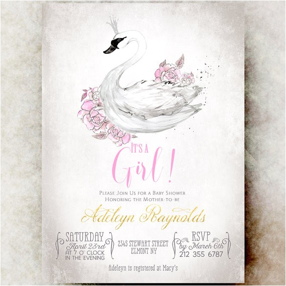 swan baby shower invitation girl baby