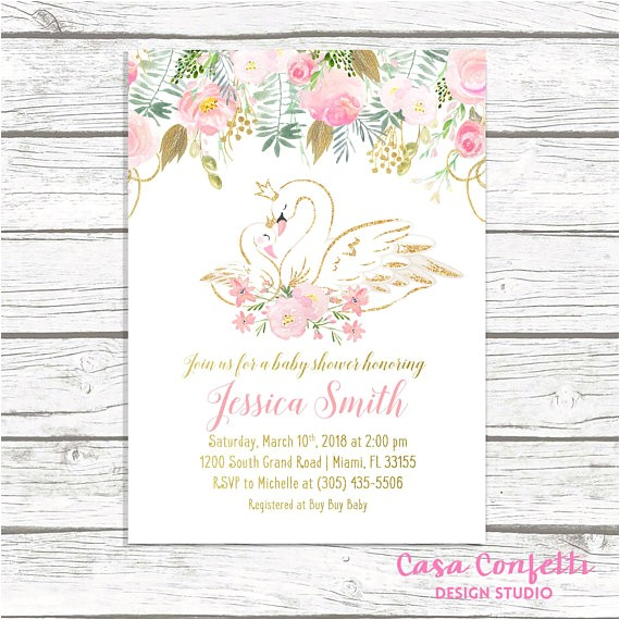 swan baby shower invitation swan invitation