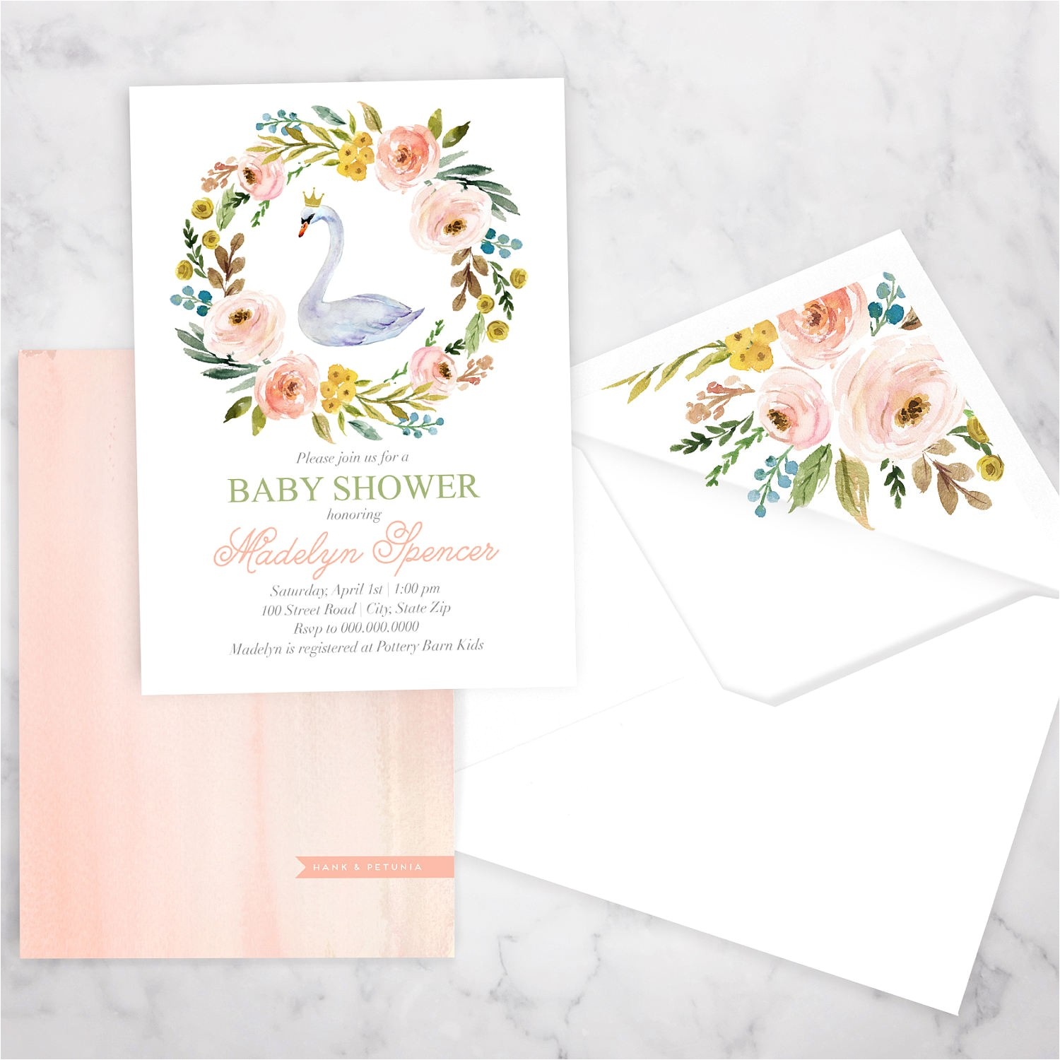 swan princess baby shower invitation
