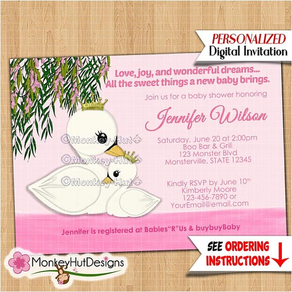 swan princess baby shower invitations