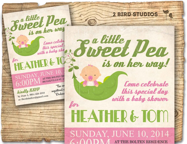 little sweet pea baby shower invitation