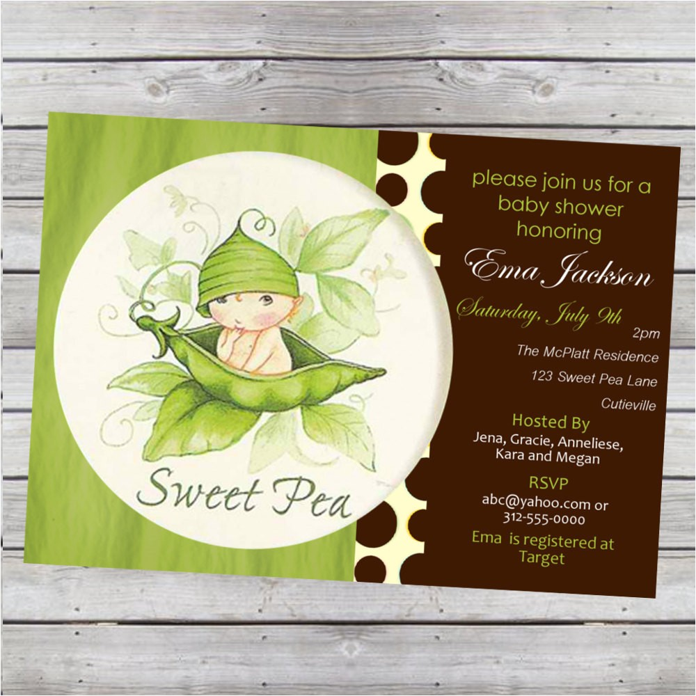 sweet pea baby shower invitation boy or