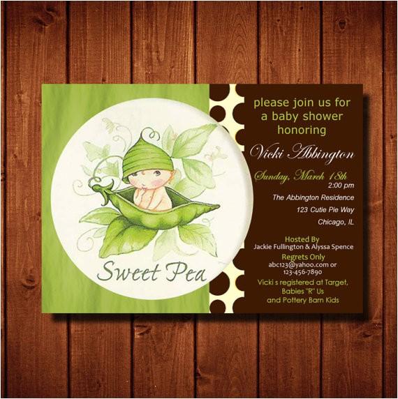 sweet pea baby shower invitation boy 3