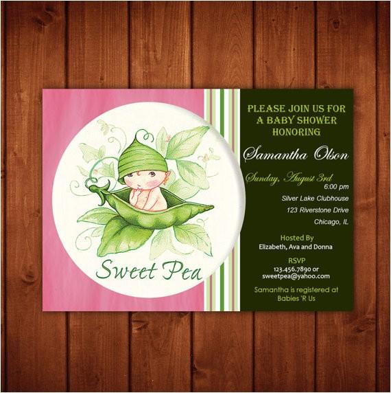 sweet pea baby shower invitation boy