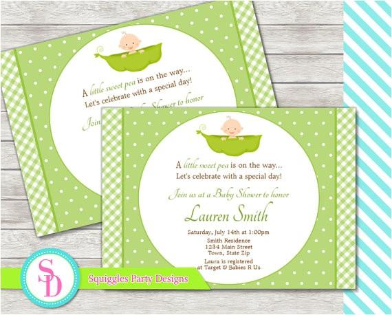 sweet pea baby shower invitation digital