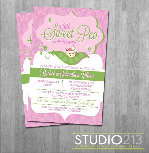 sweet pea baby shower invitations custom