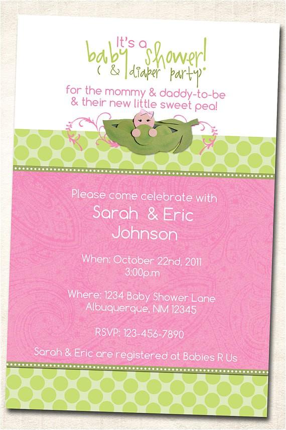 Sweet Pea Baby Shower Invitations Sweet Pea In A Pod Baby Shower Invitation