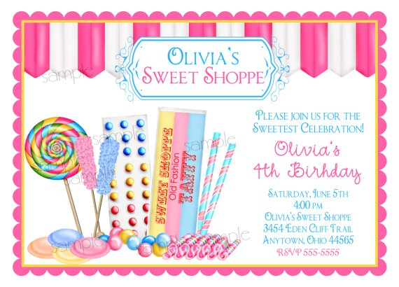 candy birthday invitations sweet shop