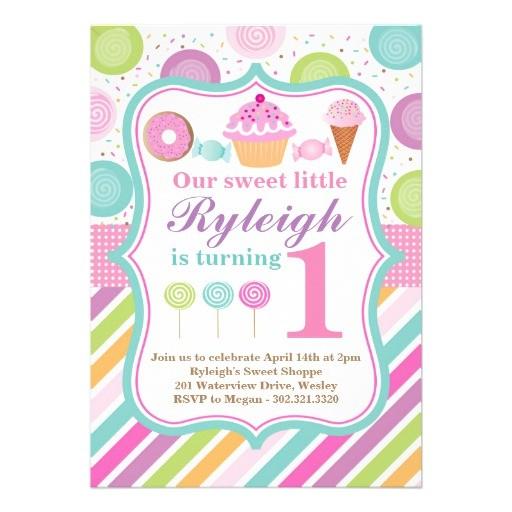 sweet shoppe birthday party invitation