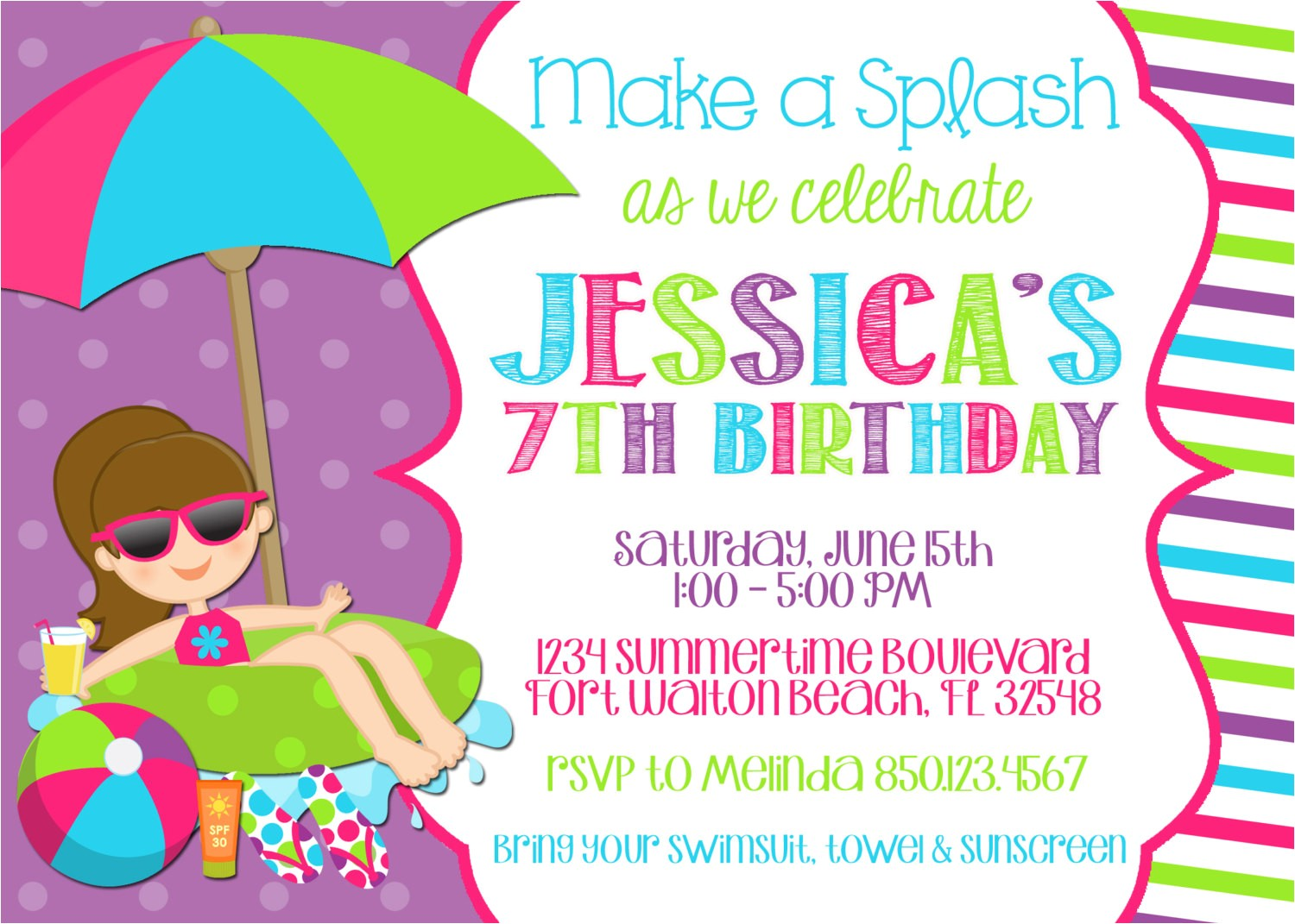 pool party invitation wording template